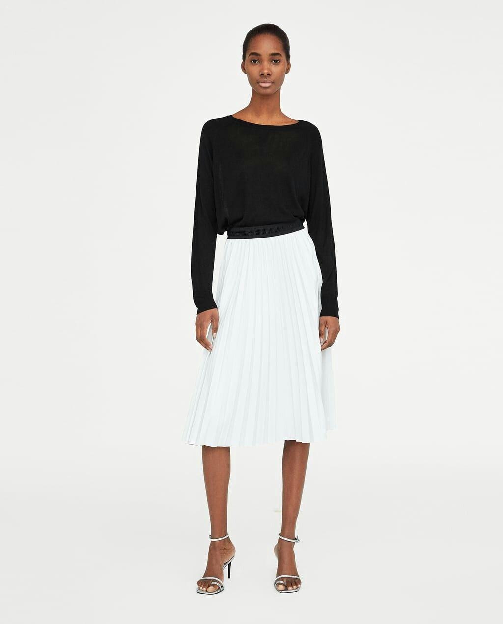 da1aa2a0bf Zara faux leather white pleated skirt | MINE | White pleated skirt ...