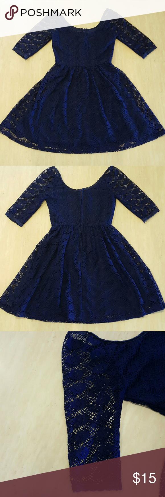 B darlin black lace dress  Womens Sz BDarlin Blue Crocheted Lined Dress  My Posh Picks