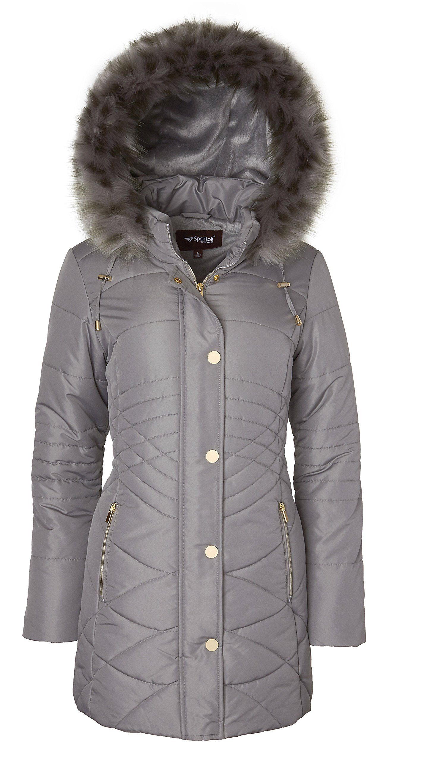 929d553392b Sportoli Womens Longer Length Plush Lined Puffer Coat and ZipOff  Detacheable Fur Trim Hood Titanium Large