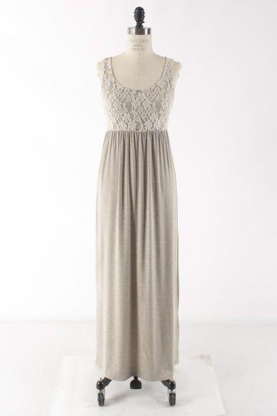 Beige lace maxi dress, $43, lace maxi dress, brown lace maxi dress, beige maxi dress