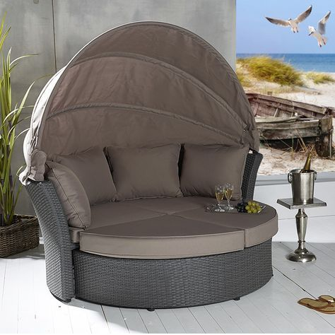 Fancy Poly Rattan Sonneninsel Terrassen Strandkorb Garten Lounge Liege Strandmuschel