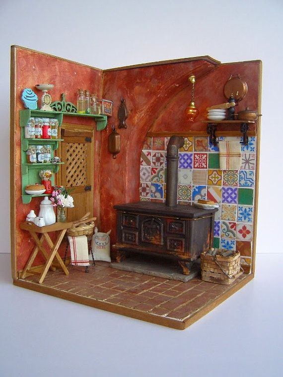 Kitchen Wood Double Door Handcrafted Handmade Dolls Dollhouse Miniatures 1:12
