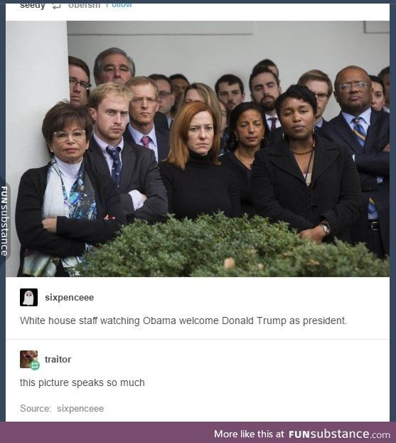 The Staff Watching Obama Congratulate Trump More Likely Funsubstance Memes Tumblr Funny Obama