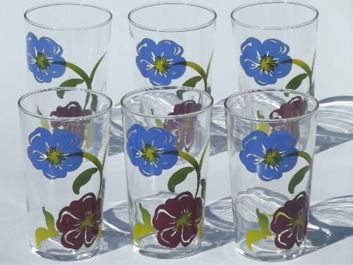 vintage swanky swigs tumbler set, drinking glasses w/ painted flowers