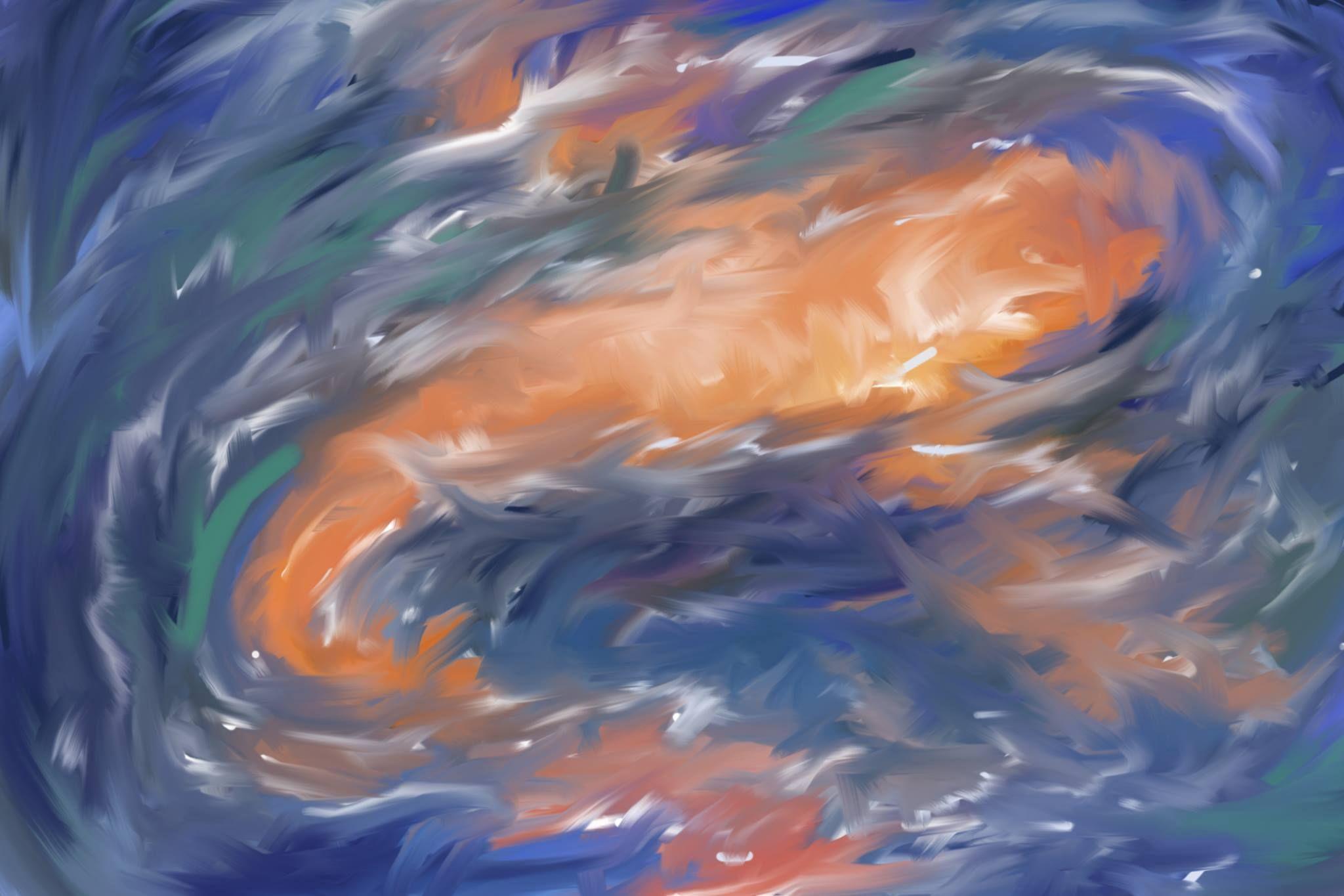 Koi Fish Digital Painting 2048 x 1365. wallpaper