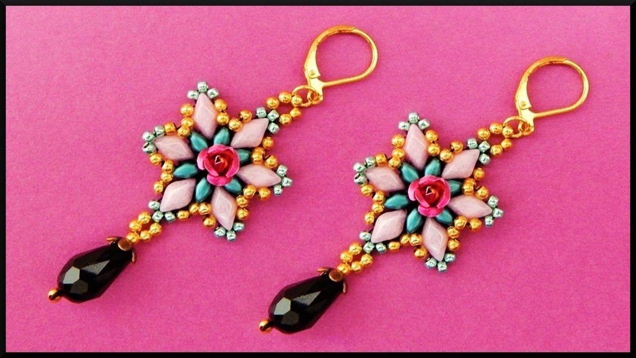 Diy Beaded Flower Earrings With Gemduos Jewelry Beadwork Blumen Pe Beaded Earrings Tutorials Beaded Jewelry Bead Work