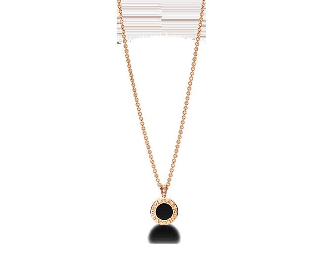 3eaf9bfb01f92c Colgante BVLGARI BVLGARI con cadena en oro rosa de 18 qt con madreperla,  ónix y pavé de diamantes. 39-44 cm de largo.