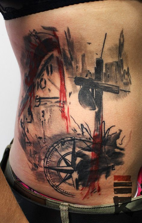 Hourglass tattoo trash  Trash polka style Veni Vidi Vici by enhancertattoo on DeviantArt ...