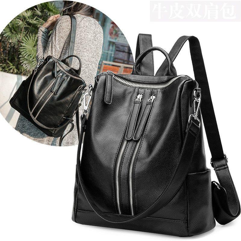 f89b270966 100% Genuine leather Women Backpacks leather Backpacks student bags For  Teenagers Girls Female Travel Back Pack  Affiliate
