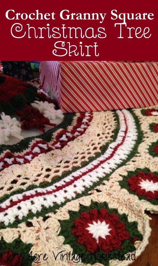 Crochet Granny Square Christmas Tree Skirt   Adornos navidad ...