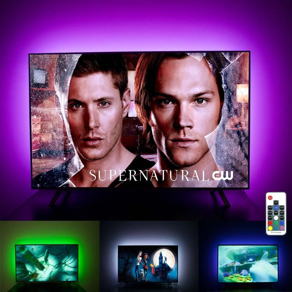 Led Tv Backlight For 60 65 70 Inch Hdtv Bias Lighting Usb Light Strip With Rf Remote 20 Colors Dimmable