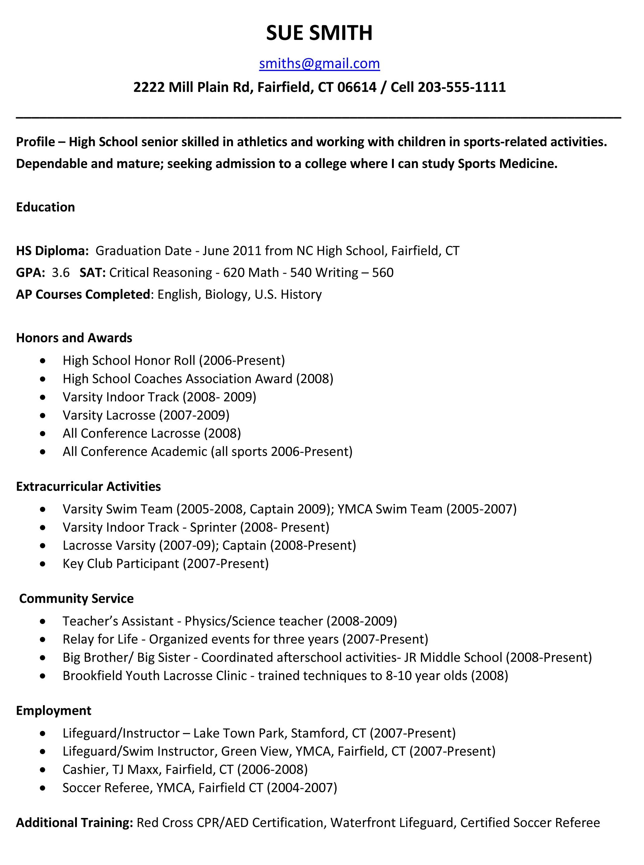Resume Sample For College Student Example Resume For High School Students For College