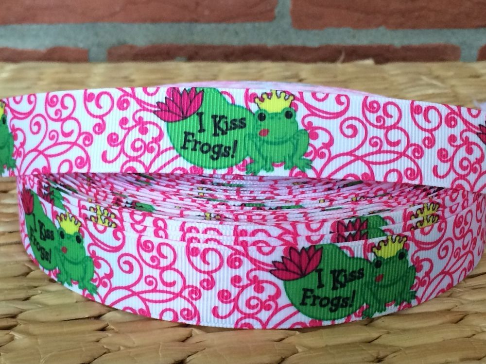 8 Kiss Frogs Inspired Grosgrain Ribbon 79 Cents A Yard Ebay