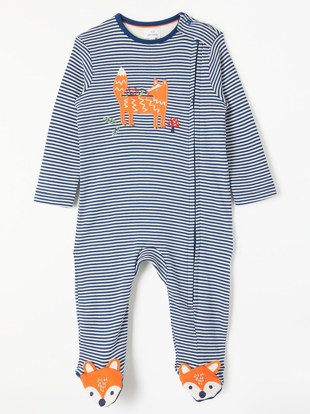 a4a7d01ee BuyJohn Lewis & Partners Baby Jersey GOTS Organic Cotton Fox Zip Sleepsuit,  Blue, Tiny Baby Online at johnlewis.com