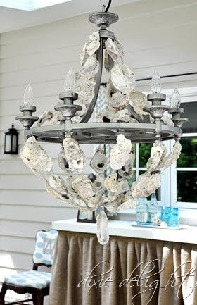 Diy oyster shell chandelier shell chandelier oyster shells and diy oyster shell chandelier aloadofball Choice Image