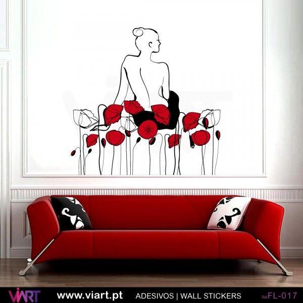 Mulher e 21 flores! - Vinil Adesivo para Decoração - Viart -1