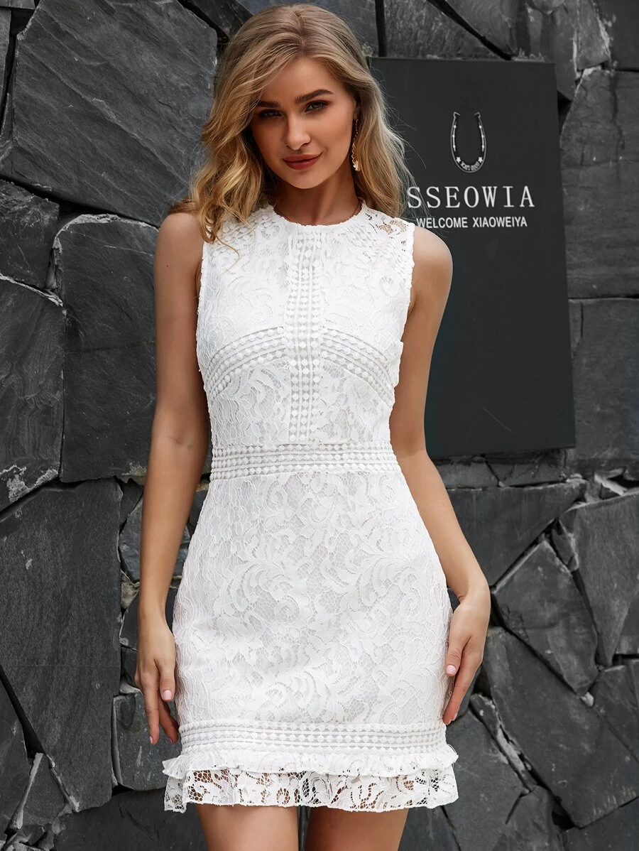 Yilibasha Zip Back Ruffle Hem Lace Dress Shein Usa White Dresses Graduation Graduation Dress College Classy Short White Dress Graduation [ 1198 x 900 Pixel ]