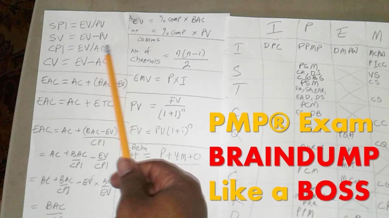How To Do Your Pmp Exam Brain Dump Like A Boss Pmp Exam