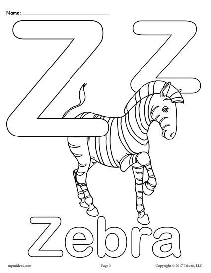 Letter Z Alphabet Coloring Pages 3 Free Printable Versions