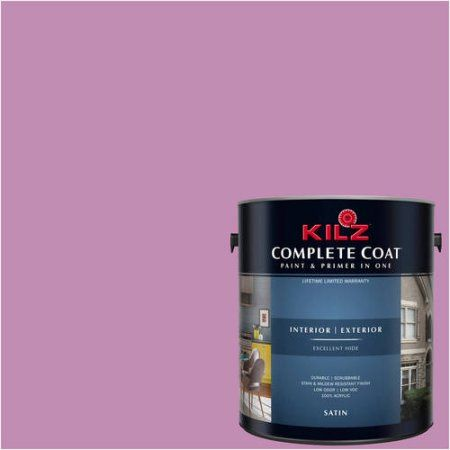 Kilz Complete Coat Interior/Exterior Paint & Primer in One #RA150-01 Berry Punch, 1 gal, Flat, Red
