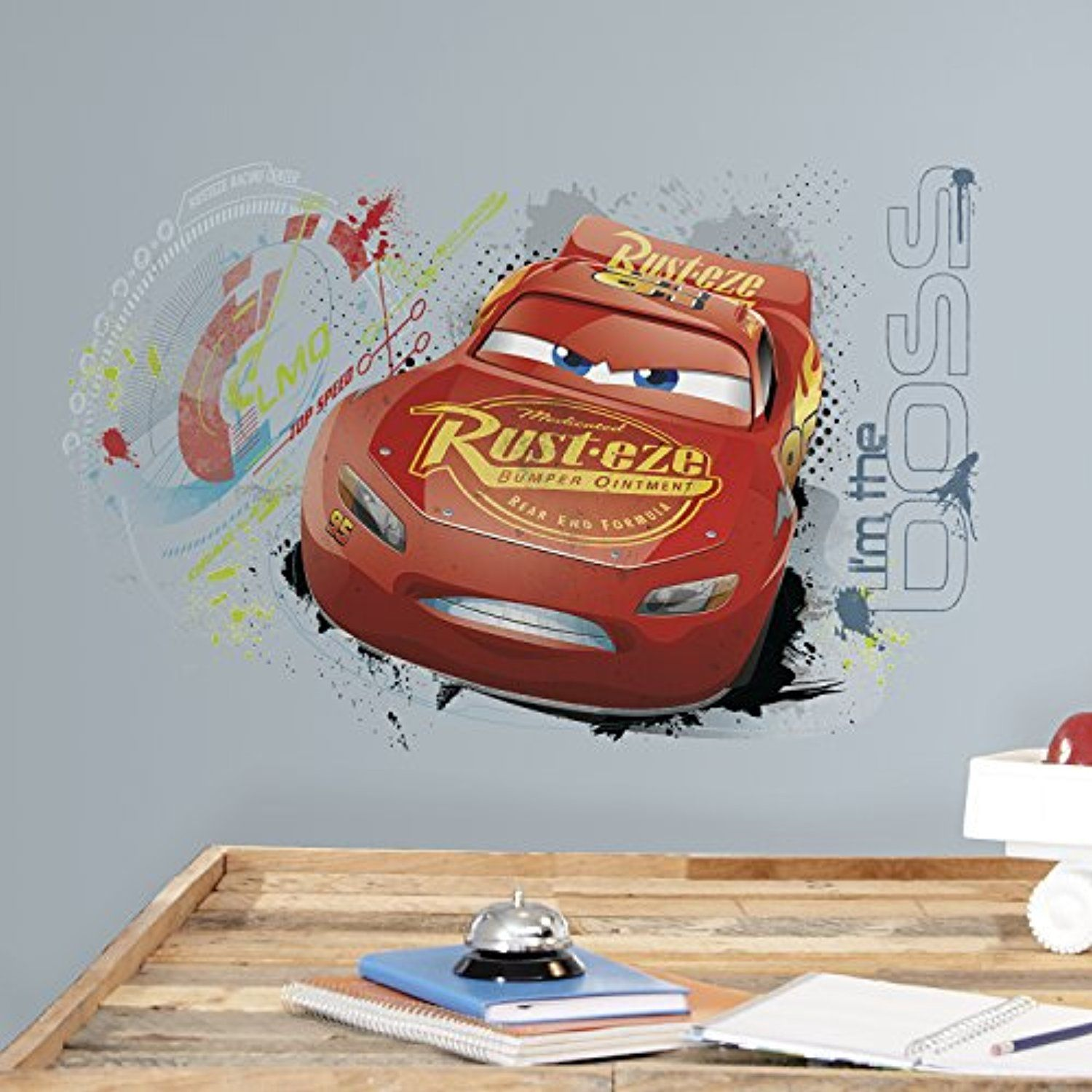 Roommates Rmk3465gm Disney Pixar Lightning Mcqueen Peel And Stick Wall Graphic Click Image For Mor Lightning Mcqueen Wall Graphics Cars 3 Lightning Mcqueen [ 1500 x 1500 Pixel ]