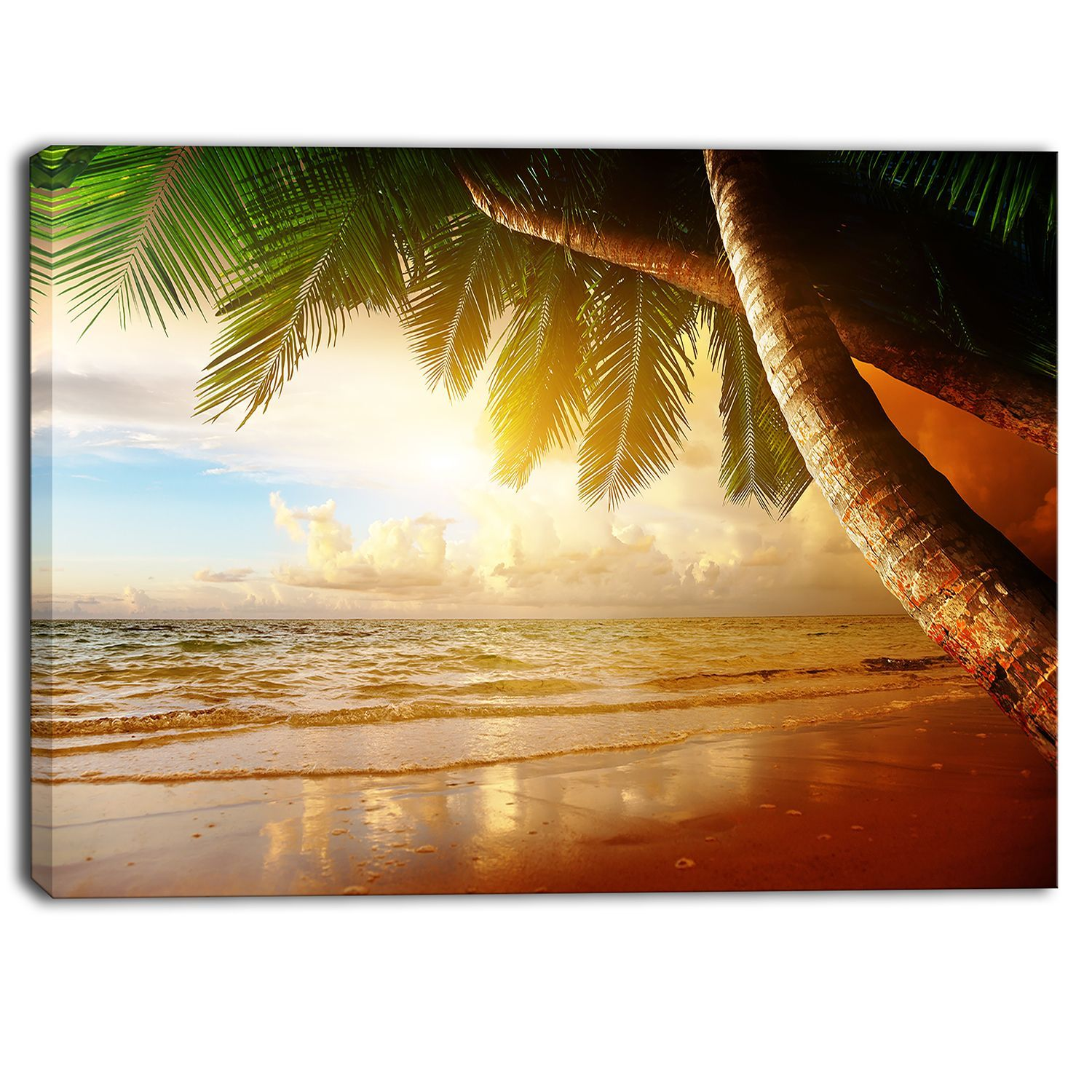Designart - Caribbean Beach Sunrise - Landscape Photo Art Print