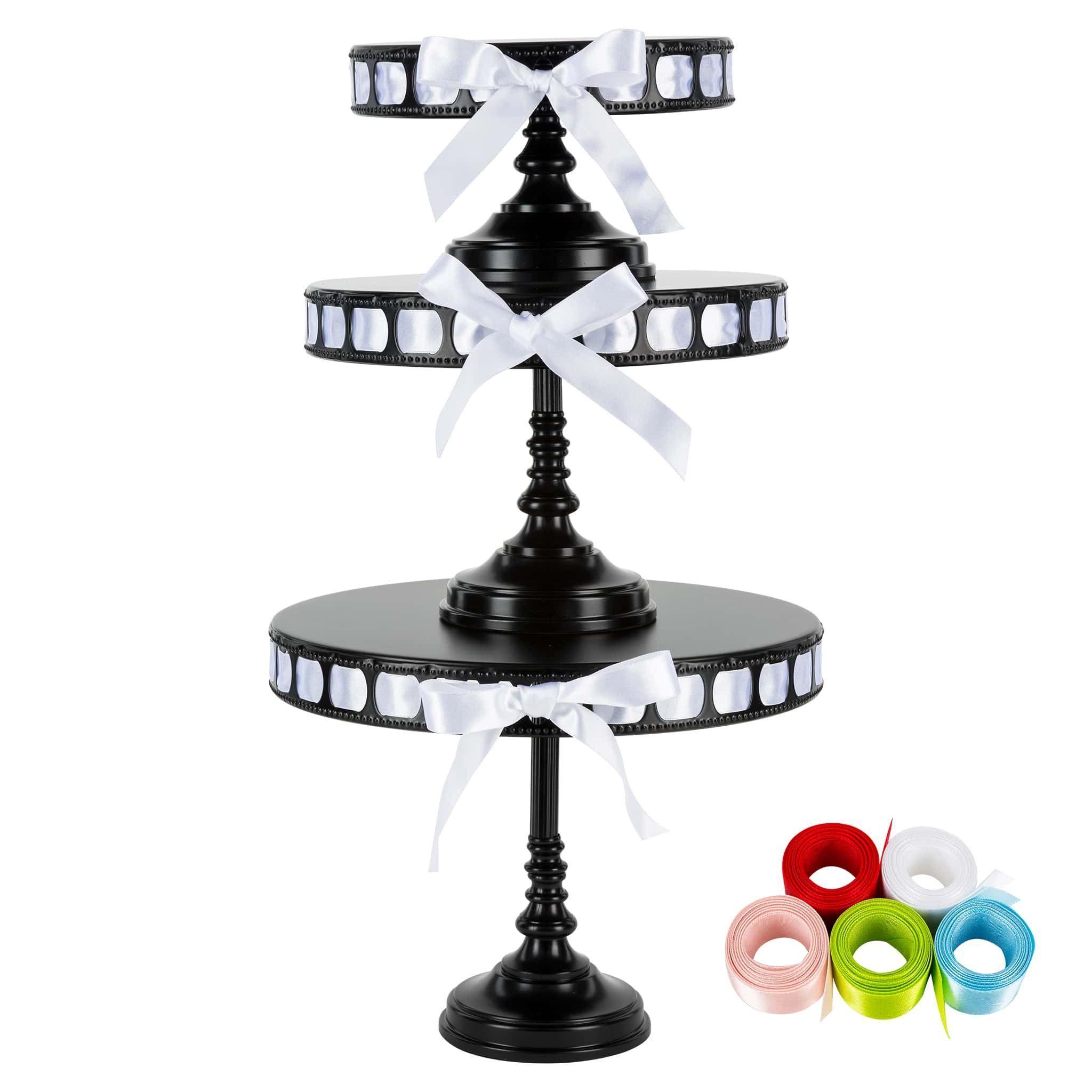 3piece tall metal ribbon cake stand set black ribbon