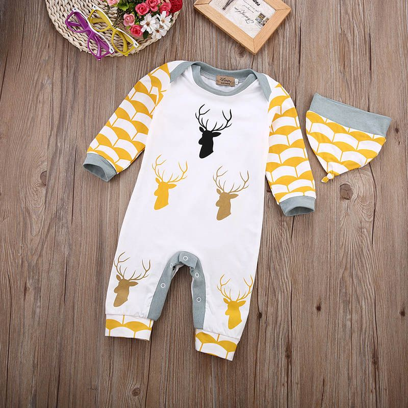 d6580d4e633 Winter Baby Rompers Long Sleeve Jumpsuits Deer Printing Cotton Infant  Costume Kids Clothes Who like it