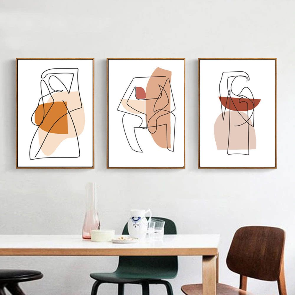 Modern Line Art Woman Line Print 3 Piece Wall Art Line Drawing Etsy In 2021 Retro Wall Art 3 Piece Wall Art Modern Wall Art