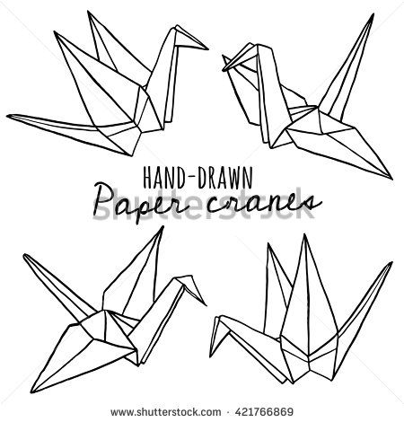 Hand Drawn Line Paper Crane Set Origami On White Background