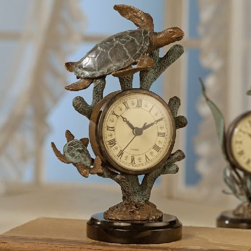 Our Sea #Turtle desk clock is created in hand patinaed brass and features wonderful tropical details. $84.00