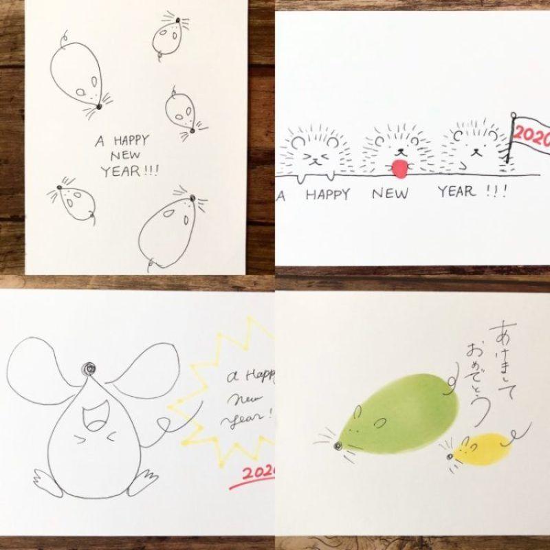 2020年干支ねずみ年 おしゃれなネズミの手書きイラスト 年賀状の簡単