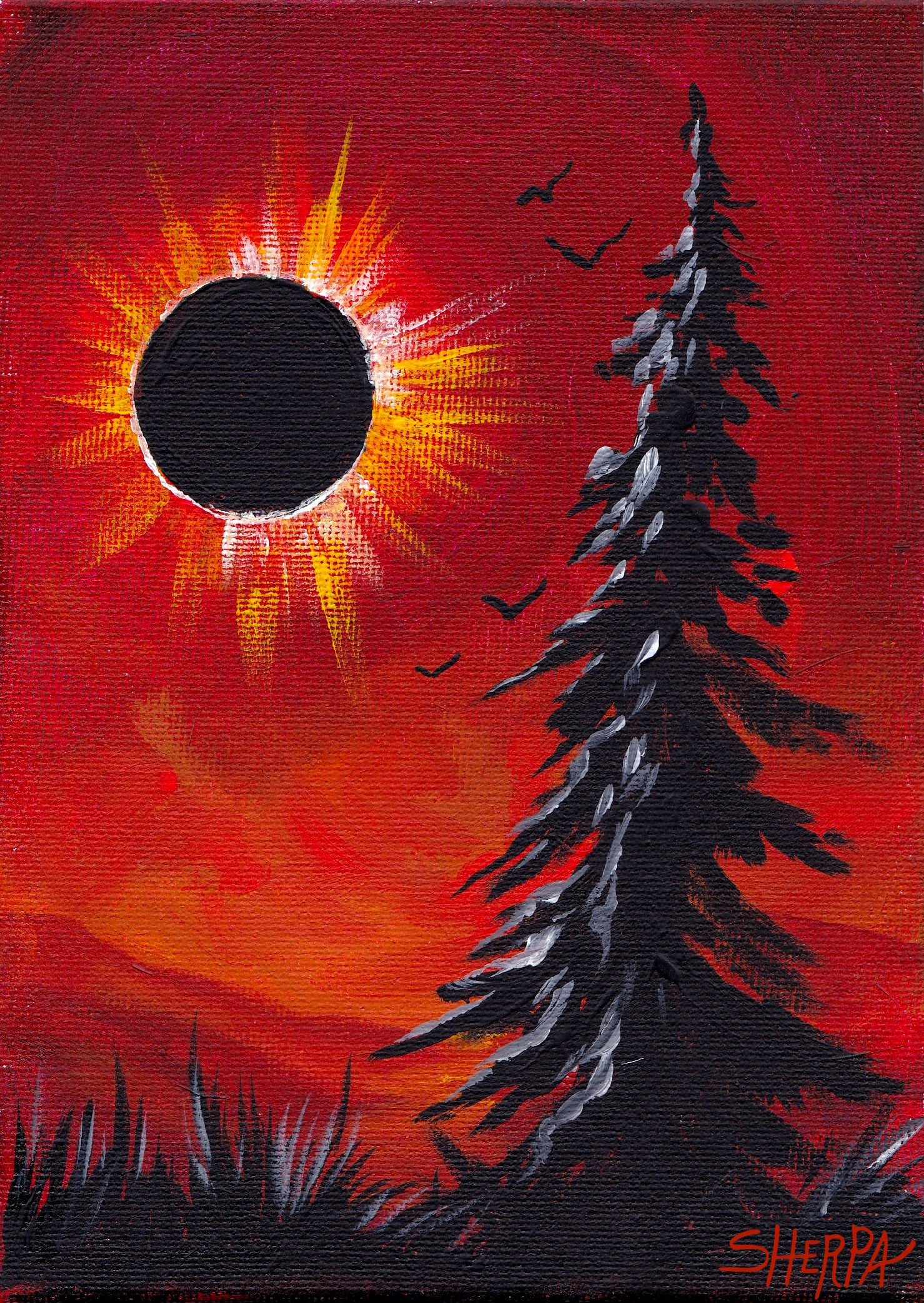 Dark Pine Eclipse Painting Acrylic on Canvas by The Art Sherpa