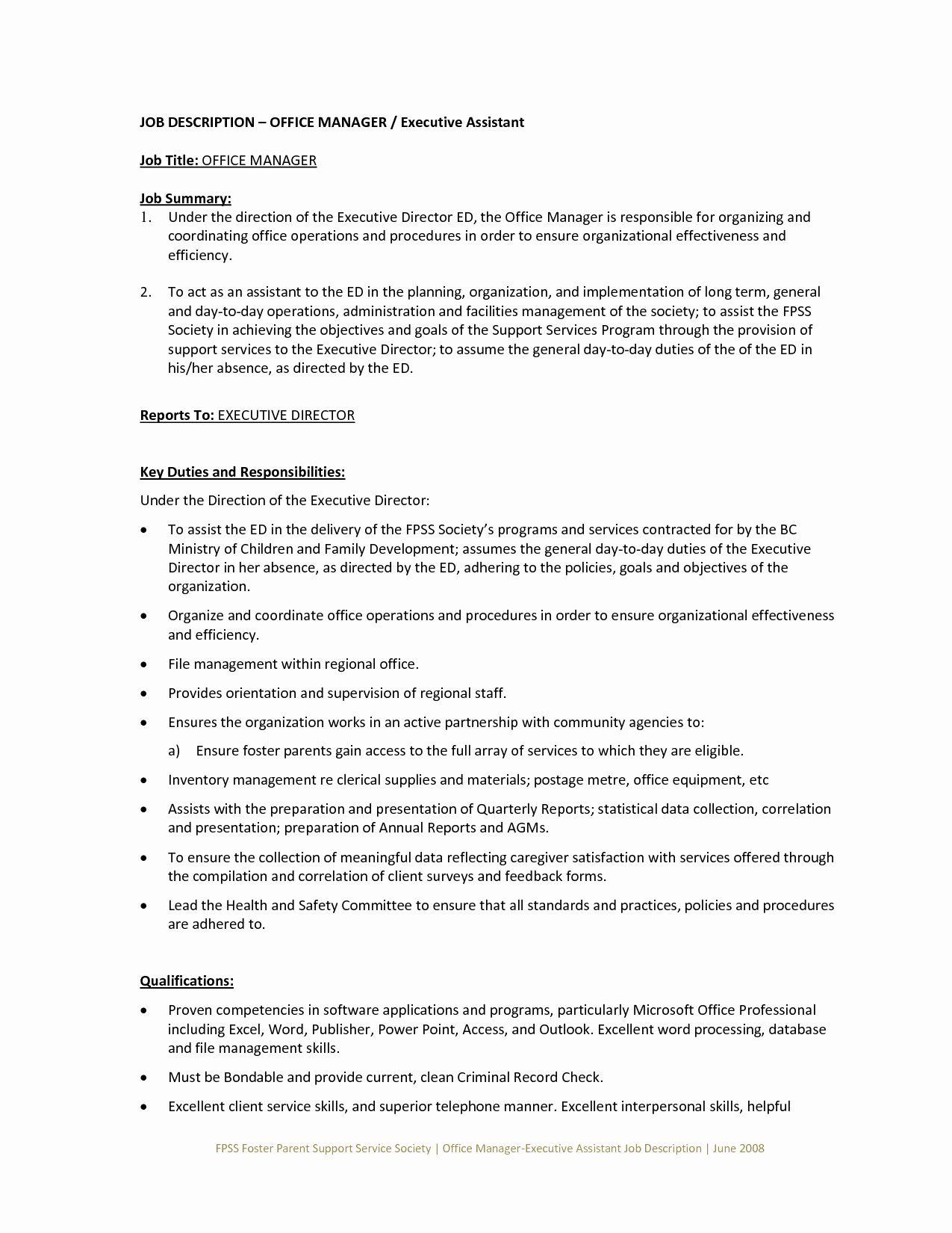 Office assistant job description resume inspirational fice