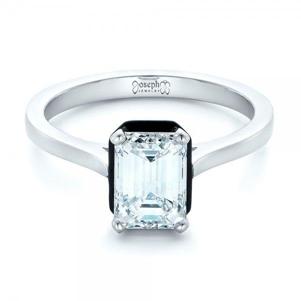 Custom Emerald Cut Diamond and Black Ceramic Engagement Ring