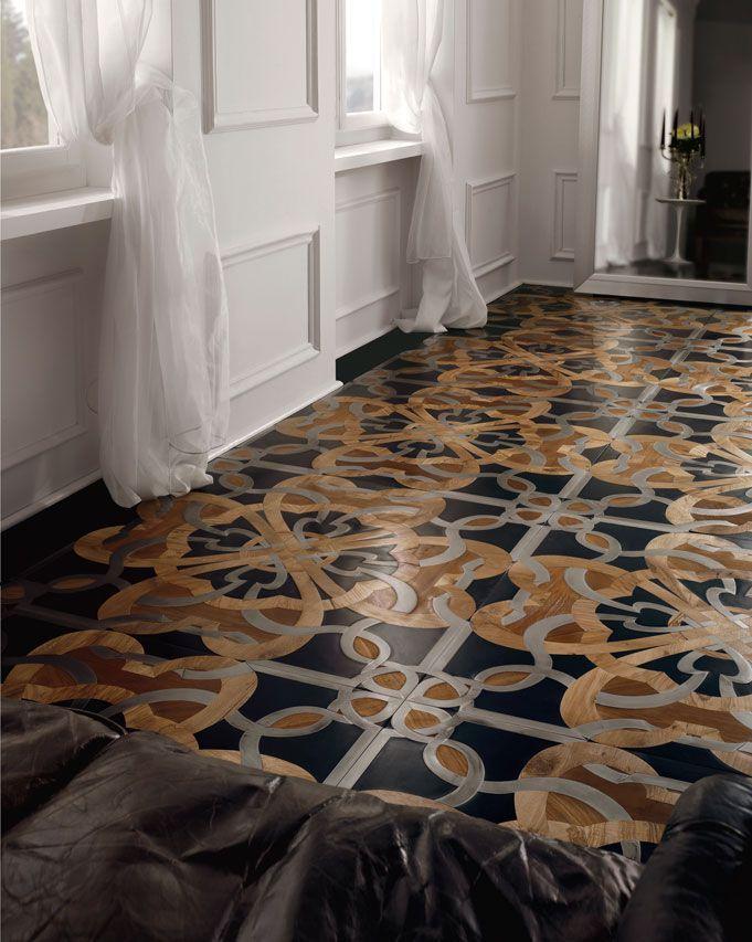 Solid parquet floor / glued / oak / walnut CALIMALA by