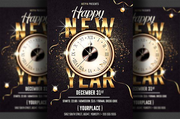New Year Invitation Flyer Template By Hotpin On Creativemarket