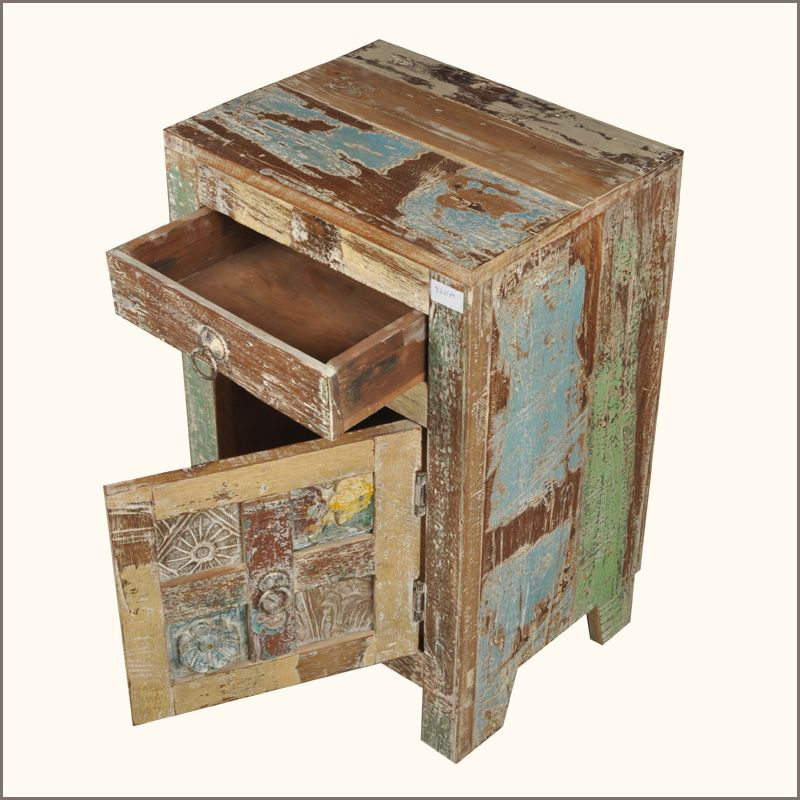 Rustic Distressed Teak Wood Bedside End Table Storage