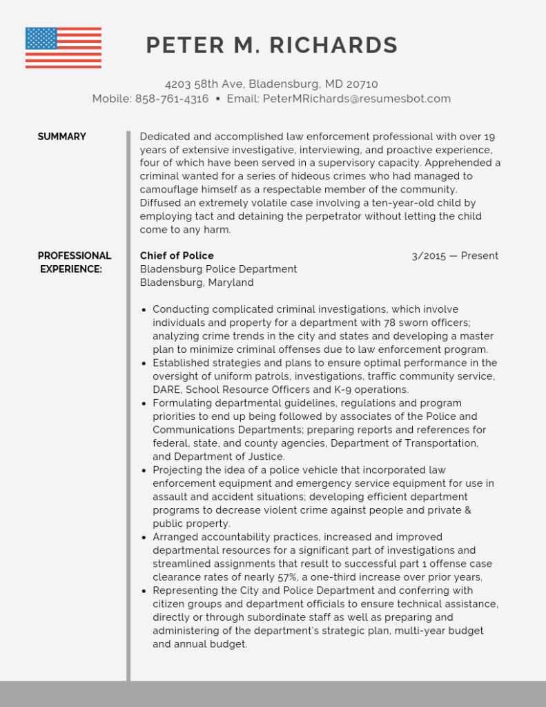 Police Chief Resume Samples Templates Pdf Doc 2021 Police Chief Resumes Bot Resume Template Examples Resume Examples Resume Tips