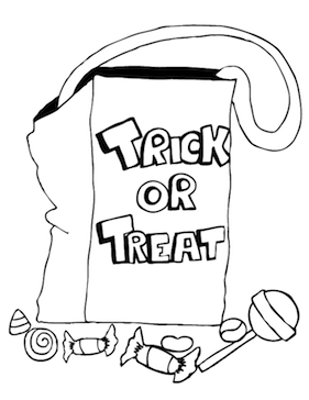 This Halloween Coloring Page Features A Trick Or Treat Bag Surrounded By Pieces Of Candy Free To Download And Print