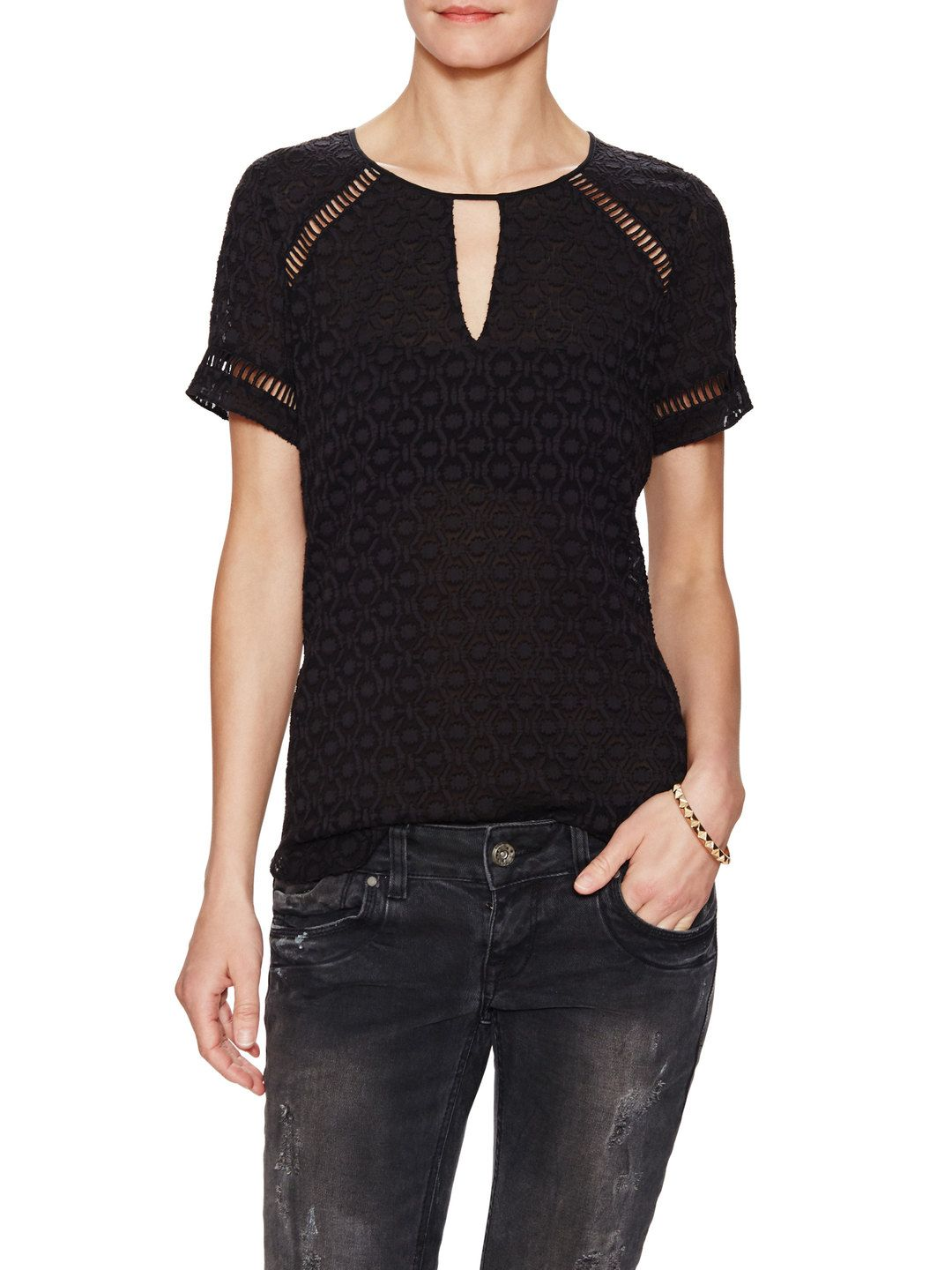 Short Sleeve Geo Clip Top by Rebecca Taylor at Gilt