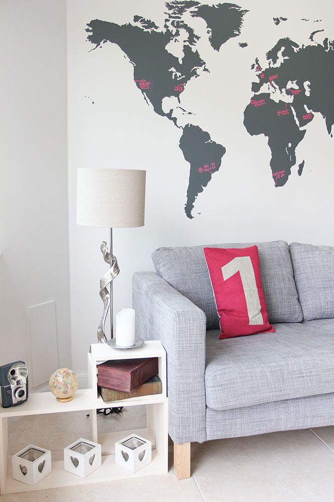 World map vinyl wall sticker wall sticker vinyl wall stickers and world map wall decal chalkboard design for your workspace gumiabroncs Gallery