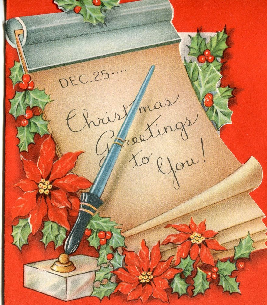 Vintage Christmas Card: Calender and Pen