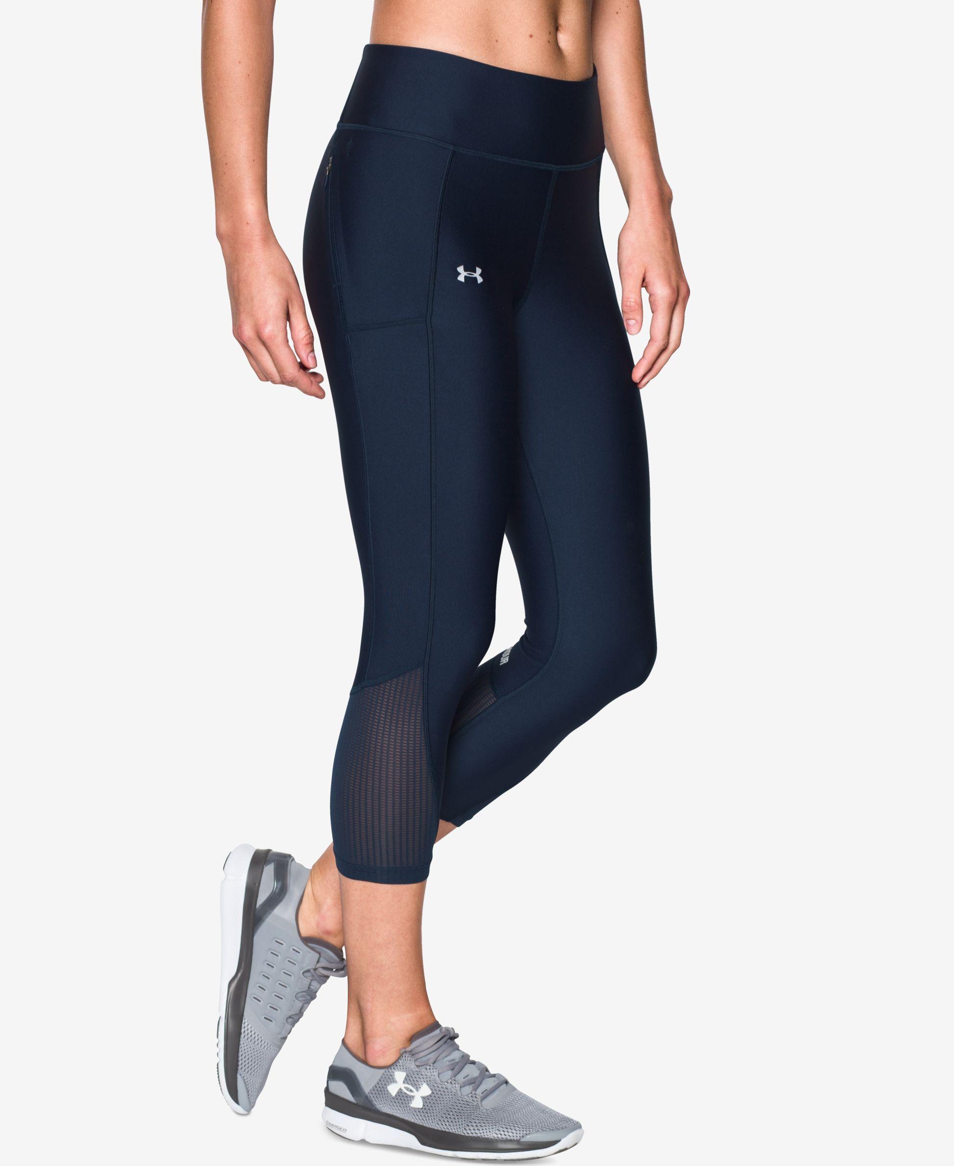 Under Armour HeatGear Womens Capri Tights Black Gym Running Sports Training UA