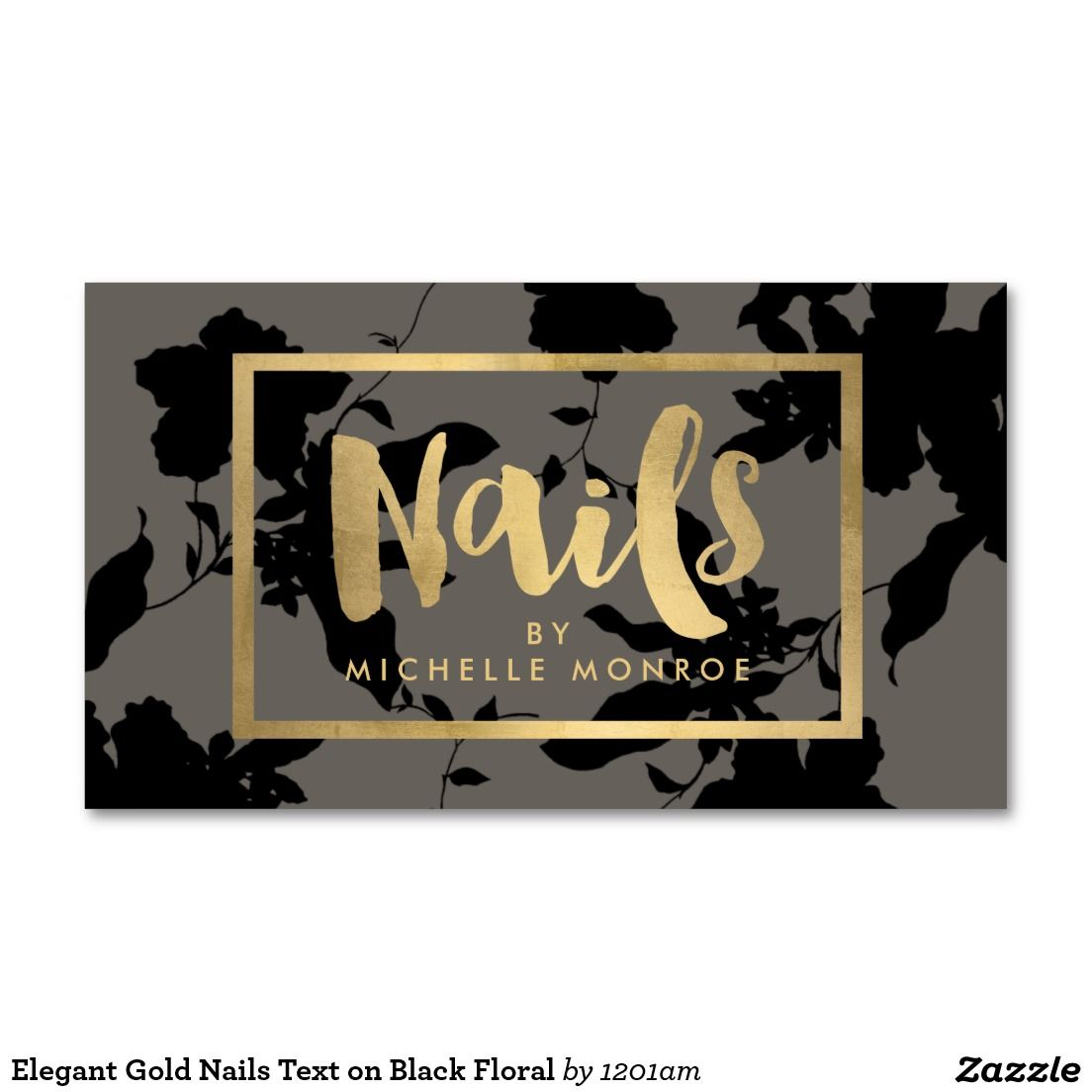 Black floral gold text nail salon gray business card nail studio chic floral and gold accents business cards for nail artists nail studios nail salons magicingreecefo Choice Image