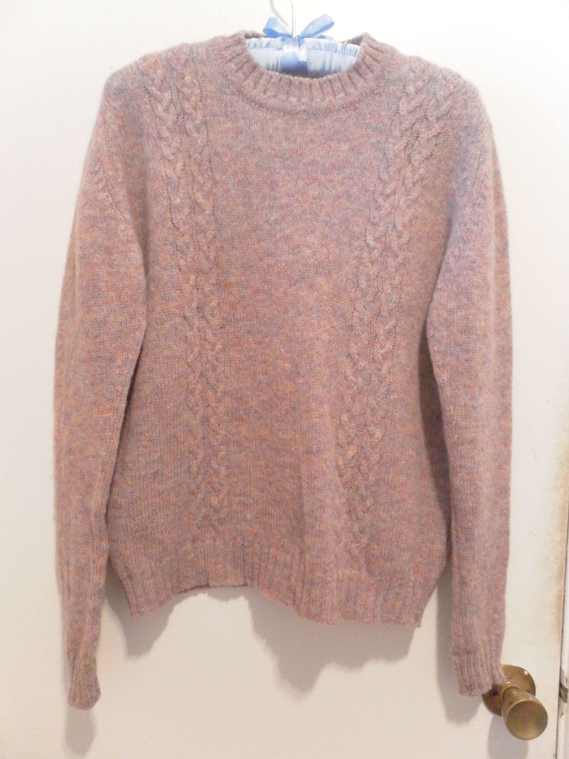 Vintage Shetland Wool Cable Knit Sweater Made In Scotland For The