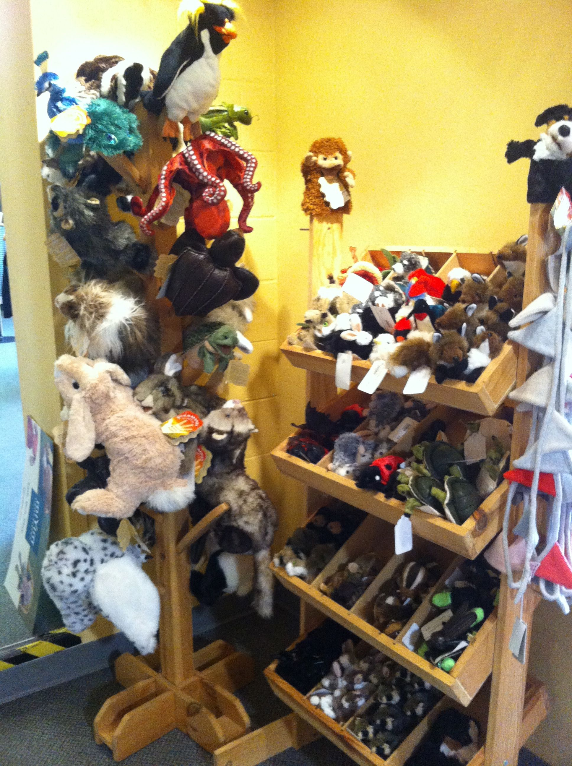Look at this great selection of puppets from Folkmanis!  Kids that come into the boutique love playing with them!
