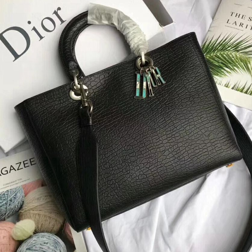 d4f10703e27 Dior Large Lady Dior Bag in Canyon Grained Lambskin Black 2018 ...