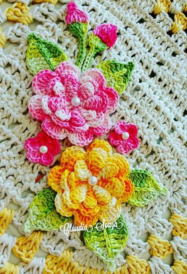 Ideia por Josieli Pereira em crochê | Flor de crochet ...