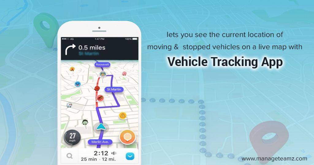 Lets you see the current location of moving and stopped vehicles on